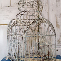 Vintage ornate rusty wire birdcage detailed hand painted scroll style decor Anita Spero