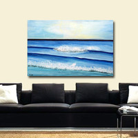 Large Abstract Seascape Painting, One of a Kind Blue sea, Ocean Art, Seascape wall art on canvas Textured Impasto ready to hang