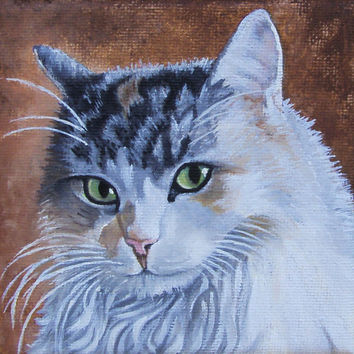 CUSTOM ORDER  Cat Portrait, Oil Painting from Picture, 4x4in, Birthday Gift, Cat, Kitty, Photo, Pets, Portrait, Christmas gift, art,decor