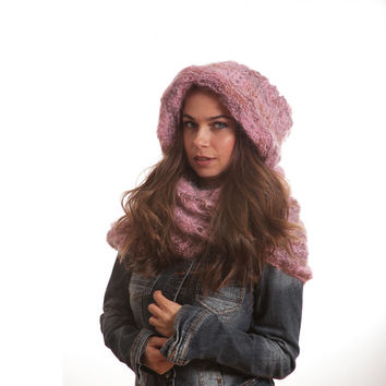 Infinity Scarf with Hood, Hooded Scarf, Knitted Scarf, Mohair Long Scarf by Solandia, Hand Knit Winter Women Scarf pink beige