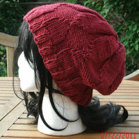 Slouch hat - Knit Hat - The Elfin Slouch  in Cranberry -Unisex Hat - Spring, Fall, Winter Accessories