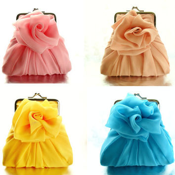 10 Chiffon Rose Purses Size Small - Variety Of Colors Available MADE TO ORDER