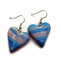 CIJ Sale 30% off - Turquoise and pink heart drop earrings