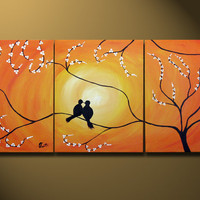 Love Birds Sitting on Tree, Custom - HUGE 48X20, Acrylic on canvas, gallery wrapped, ORIGINAL, Contemporary Earthy Bird, Gold Orange