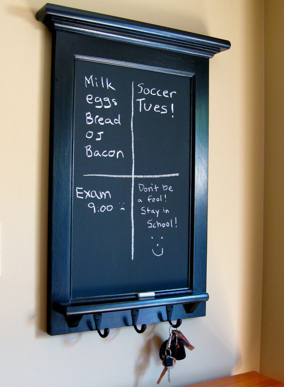 Chalkboard and Key Hook Organizer