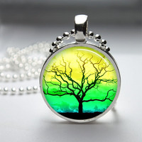 Round Glass Bezel Photo Art Pendant Tree Pendant Tree Necklace With Silver Ball Chain (A3562)