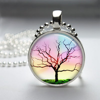 Round Glass Bezel Photo Art Pendant Tree Pendant Tree Necklace With Silver Ball Chain (A3546)
