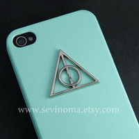 Iphone 4 Case, iphone 4s case, Deathly Hallows harry potter mint green Iphone Case, Hard Case