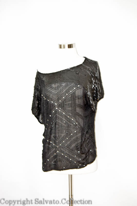 VINTAGE Black Beaded Silk Blouse