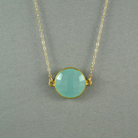 Beautiful Chalcedony Necklace, Aqua Blue, 24K Gold Vermeil Bezel, 14K Gold Filled Chain, Wonderful Jewelry