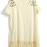 Rivet Fringe Off-shoulder Top  - Retro, Indie and Unique Fashion