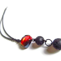 Flame and Lava Rock Necklace