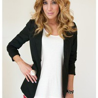 Black Ruched Sleeve Blazer with Button Front