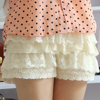 Crochet Tiered Lace Sweat Shorts