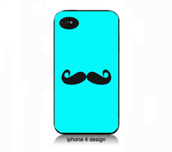 Tiffany Blue Mustache iphone 4 cell phone from IPhone4Design on