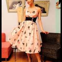 Pinup Couture Zooey Dress in Circus Print with Black Waist | Pinup Girl Clothing