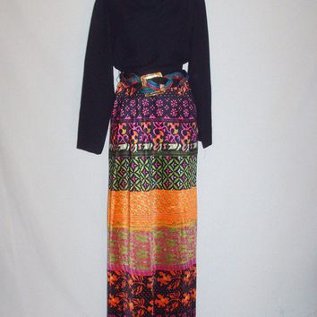 Vintage 1970s Long Sleeve Black and Colorful Maxi Dress
