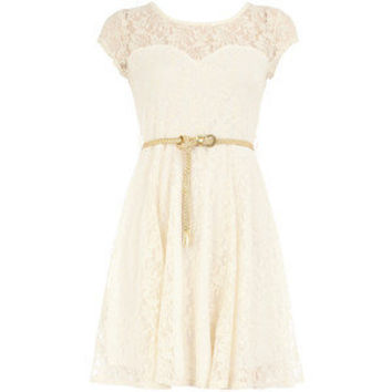 Lace flared bodice dress