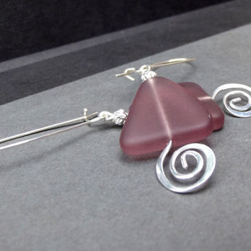 Frosted Plum Earrings:  Amethyst Purple Sea Glass Triangle Long Drop Earrings, Hammered Silver Swirl Spiral Geometric Beach Jewelry