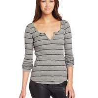 Lucky Brand Women's Wide Ribbed Stripe Top