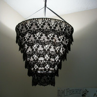 Venise Lace Faux Chandelier Pendant Lamp Shade &#x27;Black&#x27;(((((will be on vacation on July 7-15))))