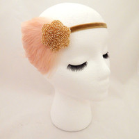 The Lucille - gold champagne feather fascinator, 1920s headpiece, feather headdress, Downton Abbey party, Gatsby Halloween costume