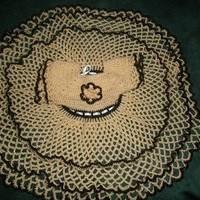 Crochet Lacy Baby Dress Yellow and Brown