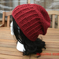 Crocheted Hat - The Stovepipe in cranberry - Unisex Hat - Spring, Fall, Winter Accessories