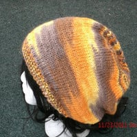 Knit hat -Rasta hat - Savannah - Unisex  handmade slouch hat -  Silk and Camel Knit Hat