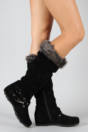 Bamboo Jester-38 Fur Knee High Wedge Boot