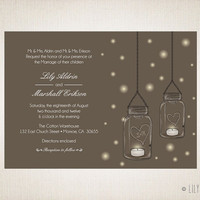 Mason Jar Wedding Invitation Tea lights fireflies DIY Digital Printable
