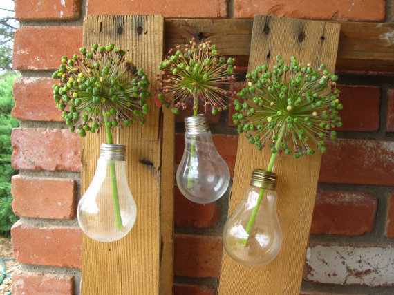 Upcycled Hanging Bulb Vase Trio