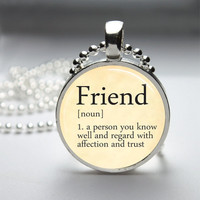 Round Glass Bezel Pendant Friend Pendant Dictionary Definition Necklace With Silver Ball Chain (A3606)