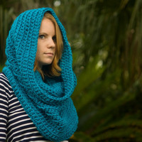 Oversized Hooded Cowl, Infinity Scarf, Blue, Christmas in July Sale, CIJ