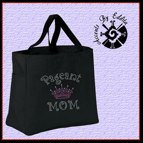 Sturdy Rhinestone Tote Bag w water bottle pocket (your choice of color) Pageant Mom Pink Tiara Crown