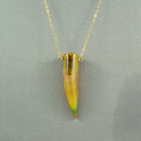 Agate Tusk Pendant Necklace, Natural Stone Necklace, 14K Gold Filled Chain, Beautiful Jewelry