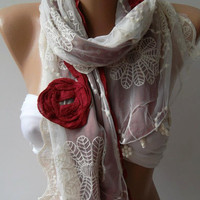 Red - Elegance Shawl / Scarf with Lace Edge,,