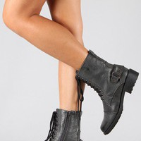 Qupid Relax-60 Military Lace Up Boot