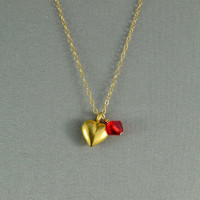 Vermeil Petite Heart Charm and SWAROVSKI Crystal Bead Necklace, 14K Gold Filled Chain, Beautiful Necklace
