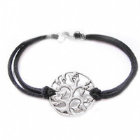 Silve Tree Bracelet Wire Wrapped Black Leather Suede Jewelry