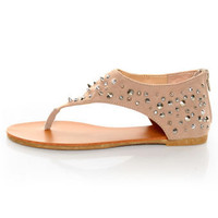 Bamboo Morris 25 Nude Studded and Spiked Thong Sandals - $36.00