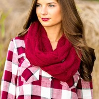 Cup Of Cocoa Infinity Scarf-Burgundy