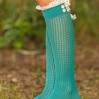 Wrap Up Boot Socks-Teal