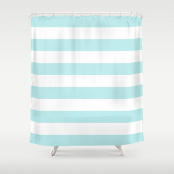 Turquoise Aqua Blue Stripe Horizontal Shower Curtain by BeautifulHomes