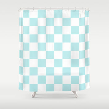 Turquoise Aqua Blue Checkers Shower Curtain by BeautifulHomes