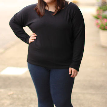 Solid Knit Sweater {Curvy}