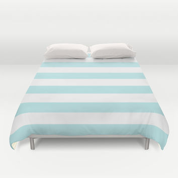 Turquoise Aqua Blue Stripe Horizontal Duvet Cover by BeautifulHomes
