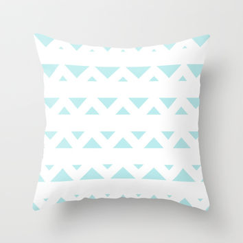 Turquoise Aqua Blue Tribal Triangles Throw Pillow by BeautifulHomes