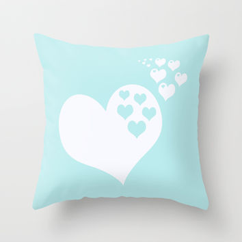 Turquoise Aqua Blue Hearts of Love Throw Pillow by BeautifulHomes