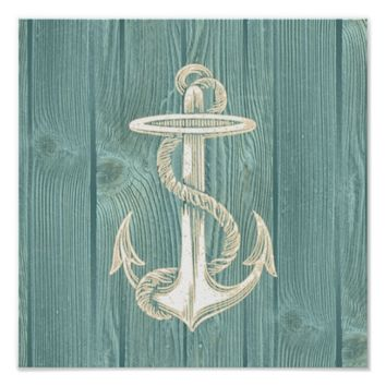 Anchor Vintage Aqua Wood Beach Poster